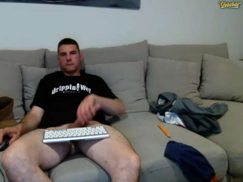 straight man jerking off on a couch on webcam